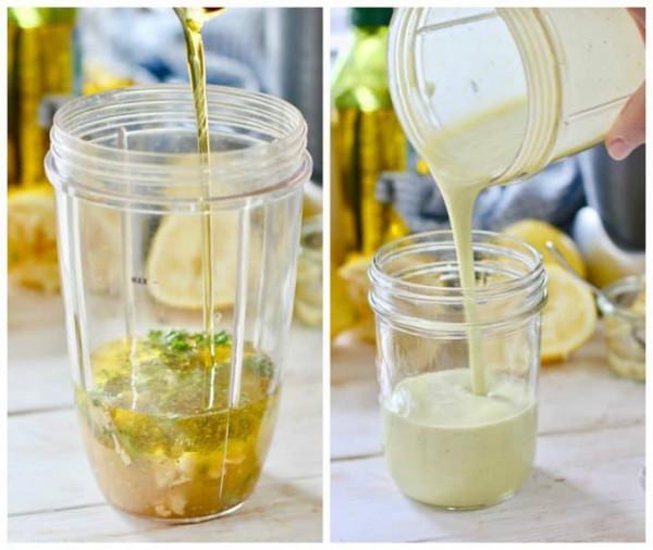 Vinaigrette ingredients in a blender before blending and after blending