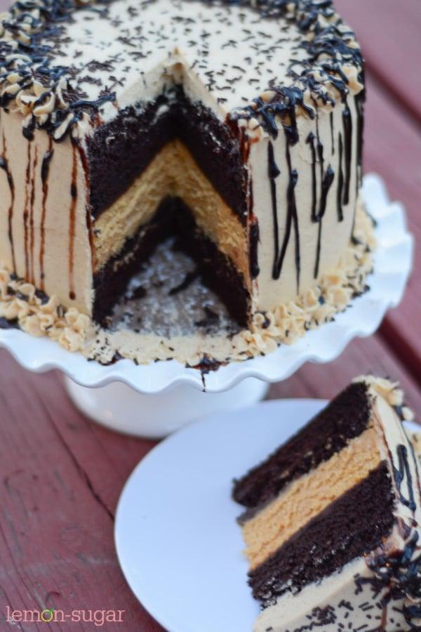 Chocolate Pumpkin Cheesecake Cake | www.lemon-sugar.com