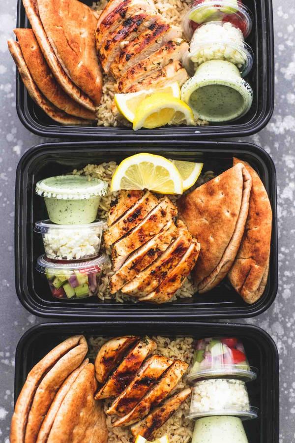 Meal Prep Greek Chicken Gyro Bowls   lecremedelacrumb.com