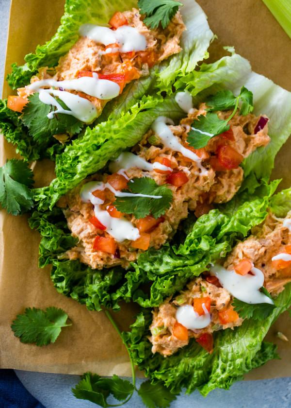 Spicy Sriracha Tuna Lettuce Wraps (Low Carb, Keto)