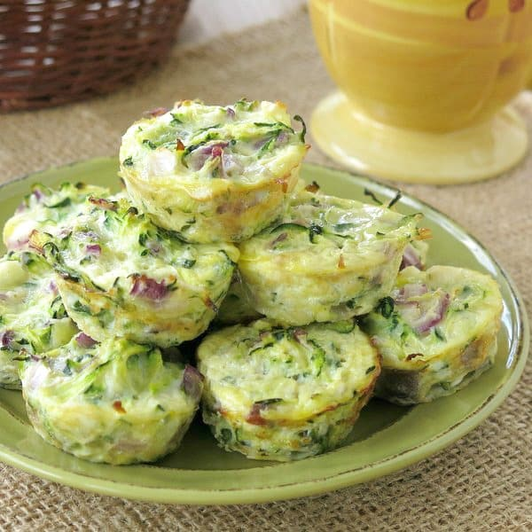 Low-carb Zucchini Egg Muffins on plate