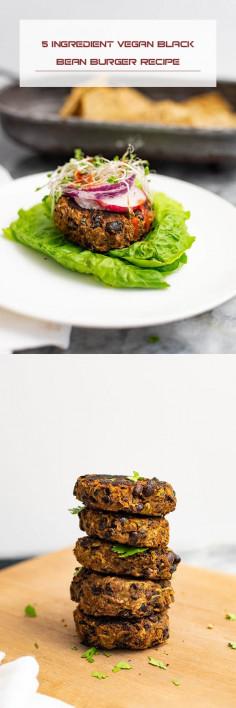 5 Ingredient Vegan Black Bean Burger Recipe