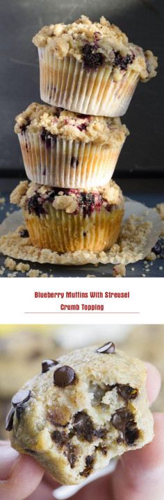 Blueberry Muffins With Streusel Crumb Topping