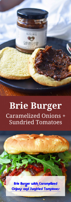 Brie Burger with Caramelized Onions and Sundried Tomatoes