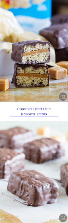 Caramel Filled Rice Krispies Treats