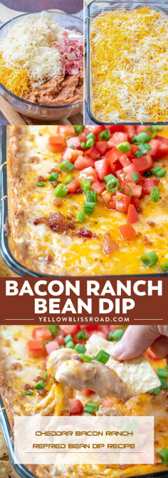 Cheddar Bacon Ranch Refried Bean Dip Recipe