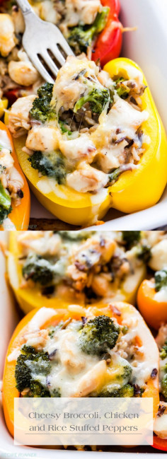 Cheesy Broccoli, Chicken and Rice Stuffed Peppers