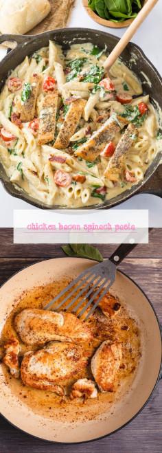 Chicken Bacon Spinach Pasta