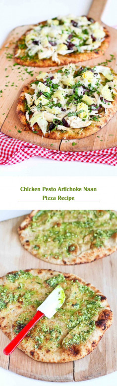 Chicken Pesto Artichoke Naan Pizza Recipe