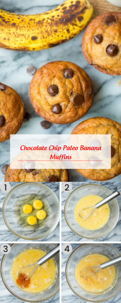 Chocolate Chip Paleo Banana Muffins