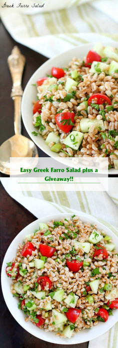 Easy Greek Farro Salad plus a Giveaway!!