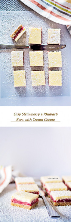 Easy Strawberry & Rhubarb Bars with Cream Cheese
