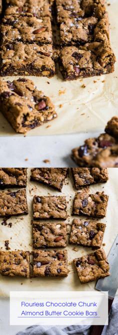 Flourless Chocolate Chunk Almond Butter Cookie Bars