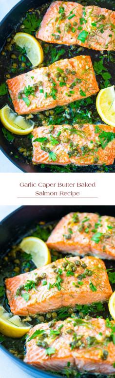 Garlic Caper Butter Baked Salmon Recipe