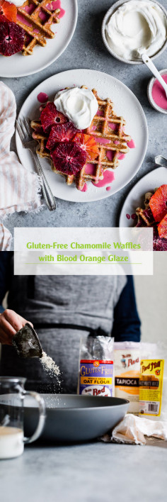 Gluten-Free Chamomile Waffles with Blood Orange Glaze