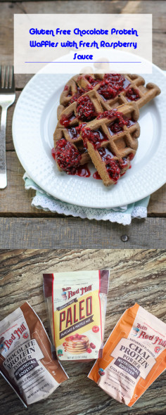 Gluten Free Chocolate Protein Waffles with Fresh Raspberry Sauce