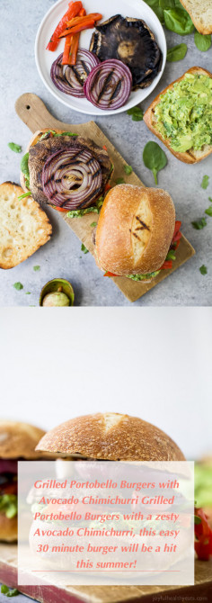 Grilled Portobello Burgers with Avocado Chimichurri Grilled Portobello Burgers with a zesty Avocado Chimichurri, this easy 30 minute burger will be a hit this summer!