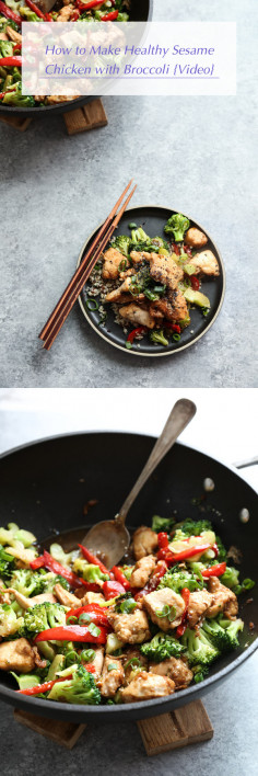 How to Make Healthy Sesame Chicken with Broccoli {Video}