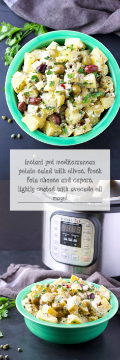 Instant Pot Mediterranean Potato Salad with olives, fresh feta cheese and capers, lightly coated with avocado oil mayo!