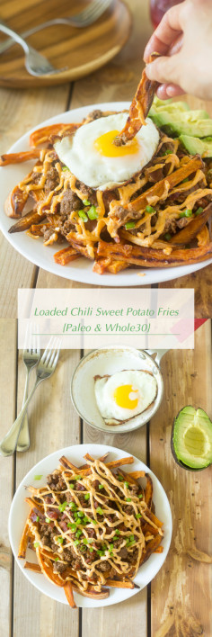 Loaded Chili Sweet Potato Fries {Paleo & Whole30}