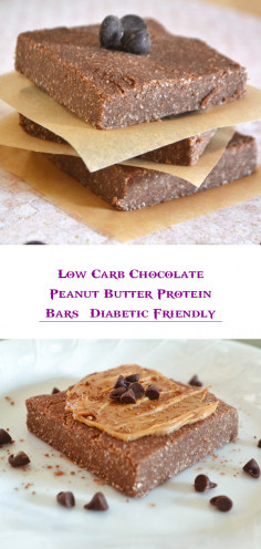 Low Carb Chocolate Peanut Butter Protein Bars | Diabetic Friendly