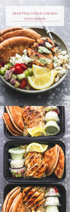 Meal Prep Greek Chicken Gyro Bowls
