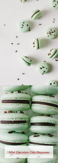 Mint Chocolate Chip Macarons