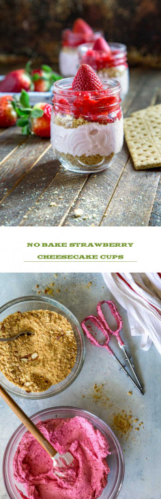 No Bake Strawberry Cheesecake Cups