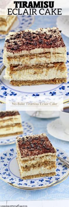 No-Bake Tiramisu Eclair Cake