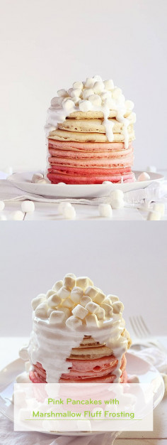 Pink Pancakes with Marshmallow Fluff Frosting