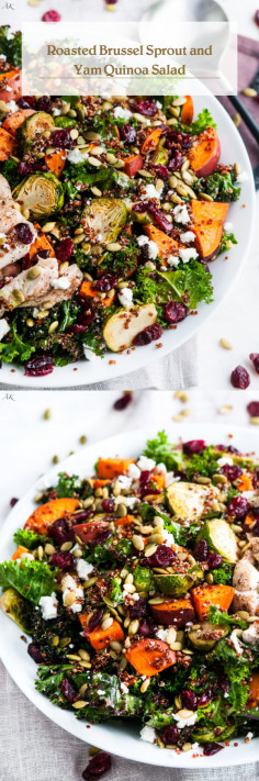 Roasted Brussel Sprout and Yam Quinoa Salad