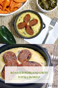 Roasted Poblano Grits with Chorizo