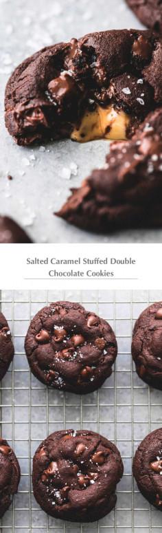 Salted Caramel Stuffed Double Chocolate Cookies