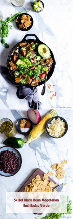 Skillet Black Bean Vegetarian Enchiladas Verde