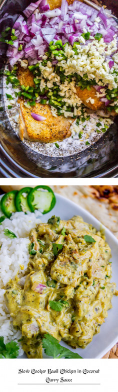 Slow Cooker Basil Chicken in Coconut Curry Sauce