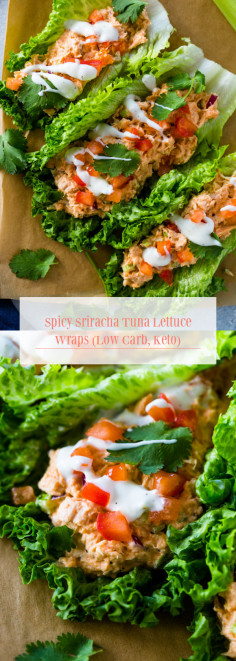 Spicy Sriracha Tuna Lettuce Wraps (Low Carb, Keto)
