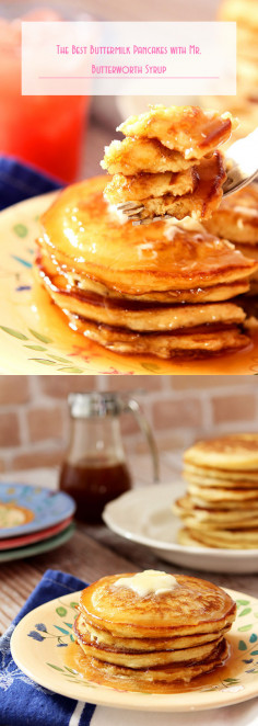 The Best Buttermilk Pancakes with Mr. Butterworth Syrup