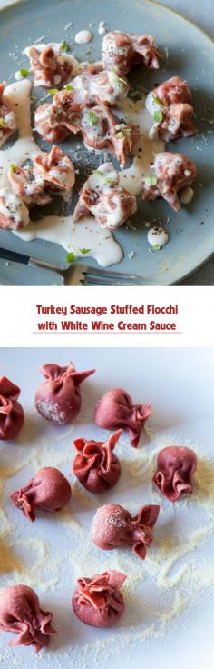 Turkey Sausage Stuffed Fiocchi with White Wine Cream Sauce
